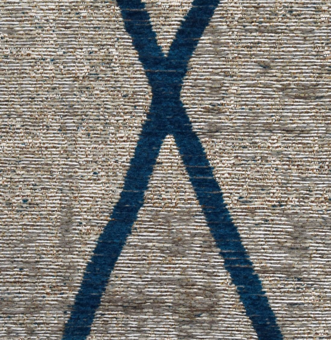 ANTIK CHENILLE CROSS SILVER/BLUE AREA RUG