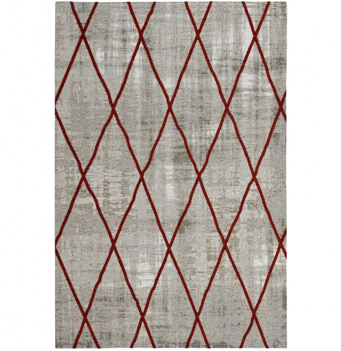 TAPETE ANTIK CHENILLE CROSS 140x200 SILVER/RED
