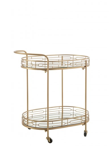 METAL/GLASS TEA TROLLEY 038