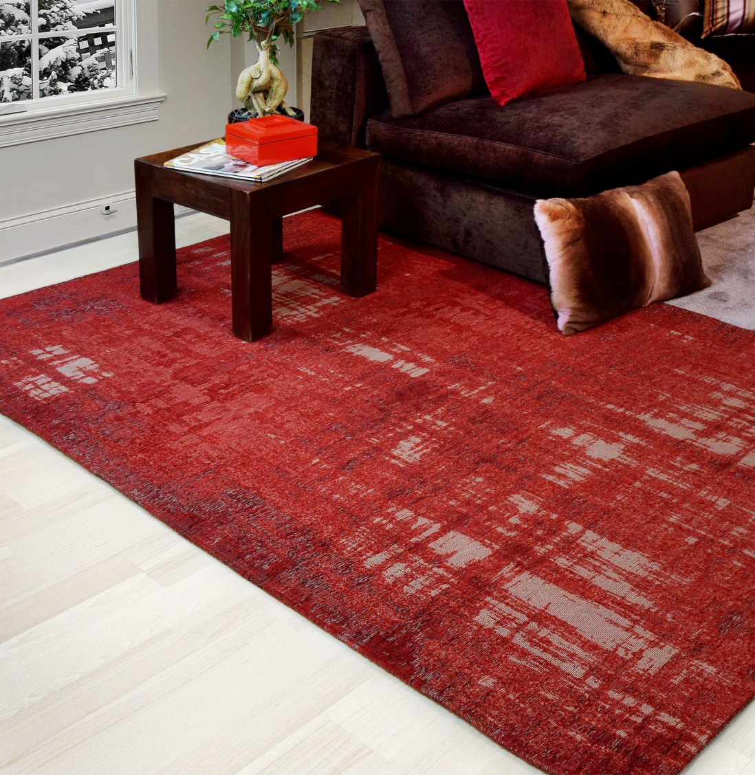 TAPETE ANTIK CHENILLE 140x200 GRUNGE/RED